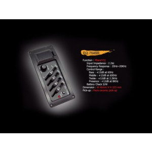 Piezo pickup met actieve 3 band EQ en volume knop incl.batterij compartiment