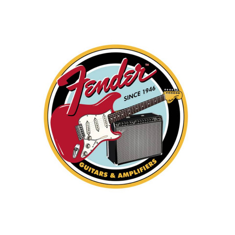 Fender Round Guitars Amplifiers tin sign