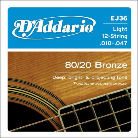 DAddario snarenset akoestisch 12-snarig 80-20 bronze light 010-047