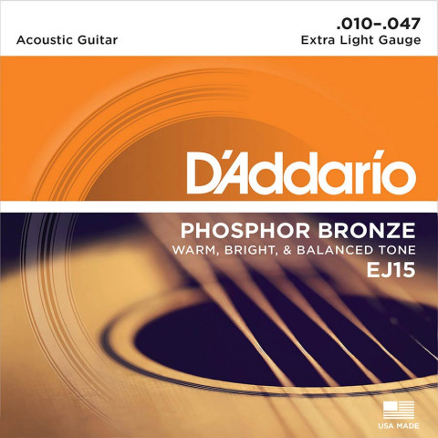 DAddario snarenset akoestisch phosphor bronze extra light 010-014-023-030-039-047