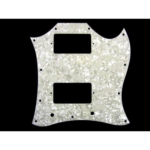 """Slagplaat voor een SG """"full face"""" met 2 humbuckers (11 gaten), wit pearloid 3 laags (Z/W/Z)."""