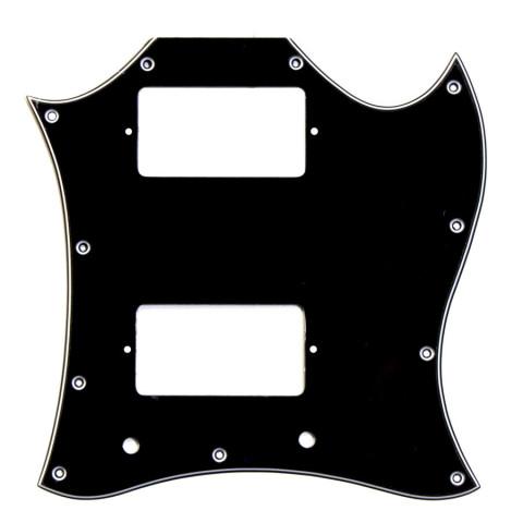 """Slagplaat voor een SG """"full face"""" met 2 humbuckers (11 gaten), zwart 3 laags (Z/W/Z)."""