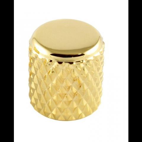 Metalen platte heavy barrel knop met stelschroef goud