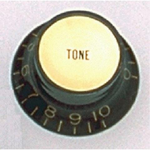 Tone knop zwart met reflecterende gouden cap